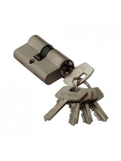 Цилиндр ключевой, ключ-ключ, 60 мм, 5 ключей, матовый никель