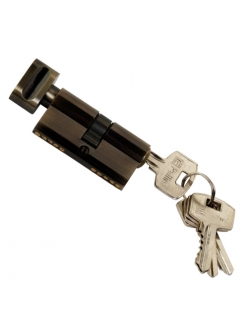 Цилиндр ключевой, ключ-барашек, 60 мм, 5 ключей, античная бронза
