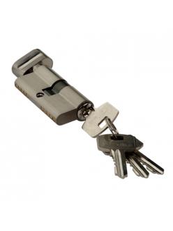 Цилиндр ключевой, ключ-барашек, 60 мм, 5 ключей, матовый никель