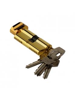 Цилиндр ключевой, ключ-барашек, 60 мм, 5 ключей, золото